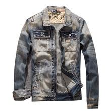 Мужская джинсовая куртка, облегающие мужские джинсы, однотонные мужские джинсовые куртки, мужская Ковбойская модная брендовая одежда