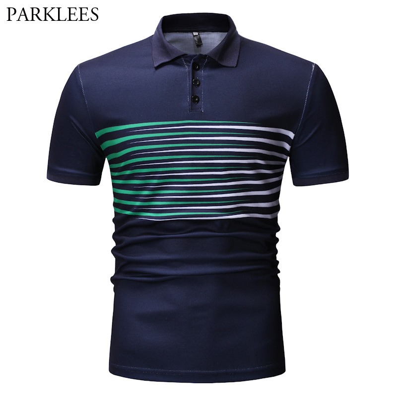 Mens Business Casual   Polo   Shirts Short Sleeve Creative Stripe Print   Polos   For Men Office Work Sports Daily Wear Camisa   Polo   XXXL