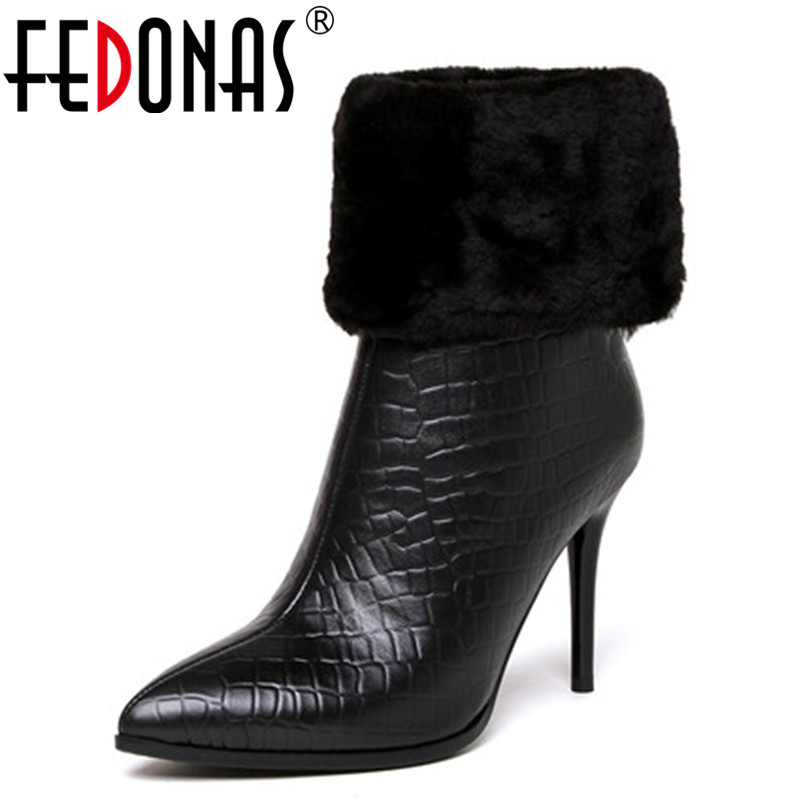 FEDONAS Fashion High Heel Zipper Ankle Boots Genuine Leather Pointed Toe Martin Boots Autumn Winter Women Boots Large Size 34-43 стоимость