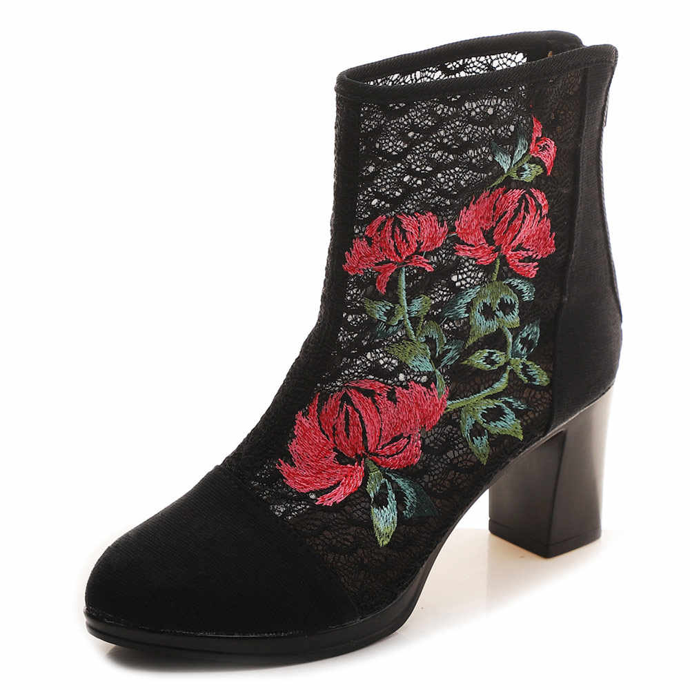 4f711af26 ... Veowalk High End Floral Embroidered Women Cotton Short Ankle Boots  Ladies Casual Block High Heel Pumps ...