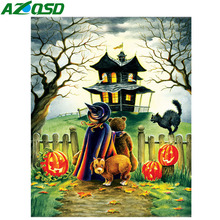 AZQSD Diamond Painting Halloween Rhinestones Pictures Needlework Full Square Crafts Mosaic Sale