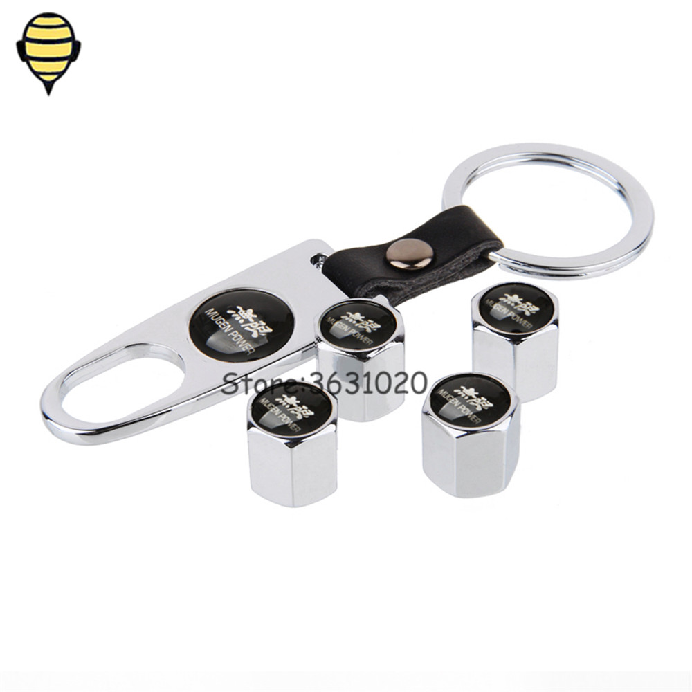 For Mugen Power Car Styling Auto Wheel Tire Valve Stems Caps With Keychain For Honda City Jazz Insight CRV Fit H-RV Accord Civic