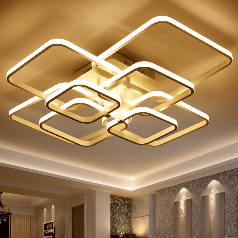Square Circel Rings Ceiling Lights  For Living Room Bedroom Home AC85-265V Modern Led Ceiling Lamp Fixtures lustre plafonnier square modern led ceiling lights for living room bedroom ac85 265v white black home deco ceiling lamp fixtures free shipping