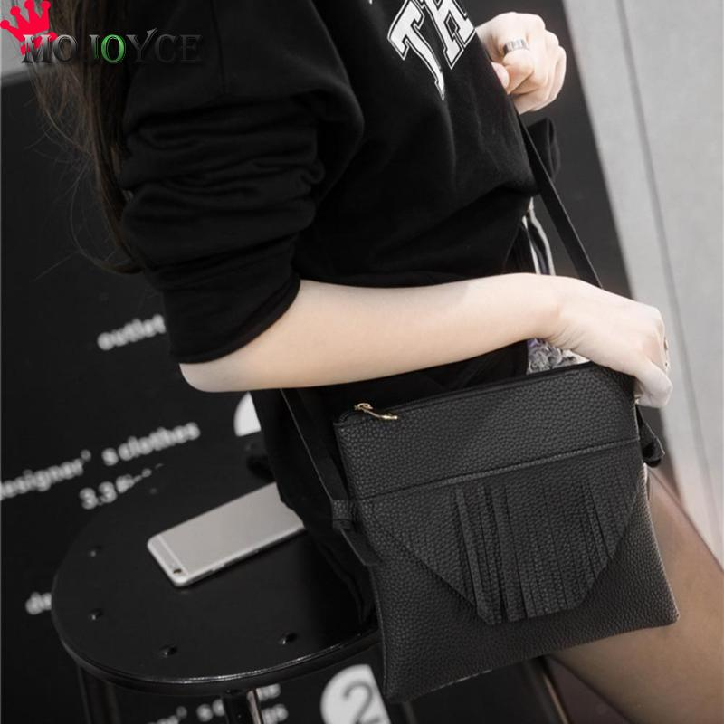 Fashion Women Crossbody Bags Simple Elegant PU Leather Shoulder Bags Girls Casual Zipper Tassels Messenger Handbags