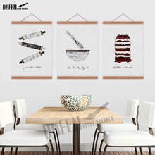 Combined Nordic Poster Print Wall Art Cake and Tool Canvas Painting for Modern Restaurant Kitchen Home Decoration Ready to Hang