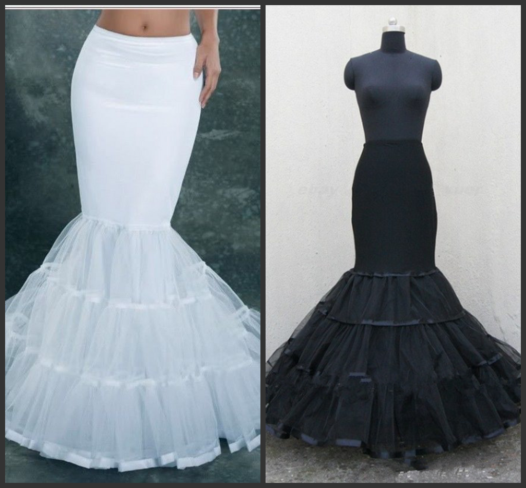 2020 Black White Fishtail Mermaid Wedding Dress Bridal Petticoat Slips Underskirt Petticoats