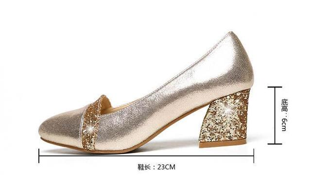 2018 Women Pumps Sweet Style Square High Heel sequins Pointed Toe Spring and Autumn Elegant Shallow Ladies Shoes Size 34-41 E058 2