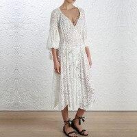 100% шелк Паутинка гребешок длинное платье Для женщин белый выдалбливают вышивка кружева с длинным рукавом Глубокий V Neck Сексуальные Платья с