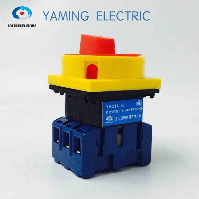 63 amp מבודד מתג ראשי מתג סיבובי ממונע מנעול כרית מתג הפעלה ב off מתג YMD11 63A משלוח חינם