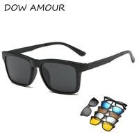 TR Eyeglass Frames With 5 Clip On Sunglasses Men Eyeglass Magnetic Clip Sunglasses Polarized Plastic Titanium