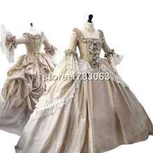 Конечной В Стиле Рококо Мария Антуанетта Платье Колониальной Грузинской 18-го века Полностью костяком подлинные бюст Платье