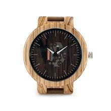 Бобо Птица H29P Мужские Деревянные Часы Реального Кожаный Ремешок Прохладный видимый Кварцевые Деревянные Часы для Мужчин Бренд Дизайнер Бамбука Деревянных часы