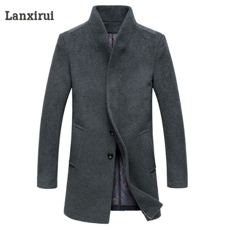 Image 5 - Men's Wool Coat Winter Long Sections Thick Woolen Coats Men Stand Collar Casual Casaco masculino palto Peacoat Overcoat Parka-in Jackets from Men's Clothing