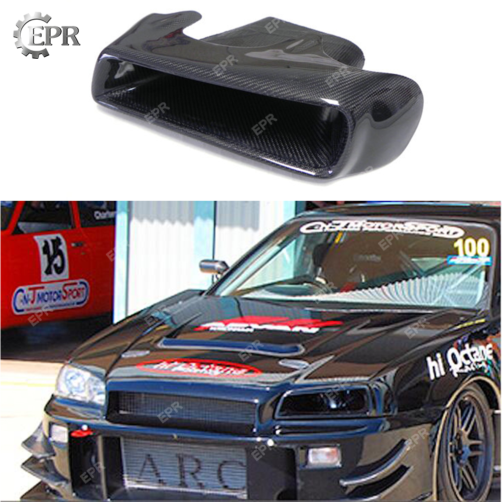For Nissan Skyline R34 GTT GTR Carbon Fiber Vented Headlight Replacement(left)Body Kit Tuning Part For GTR R34 Carbon Air Intake