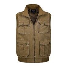 Для мужчин; жилет с прорезными карманами без рукавов хлопок зимние толстые Теплая верхняя одежда, куртка пальто мужской мульти-карман жилет