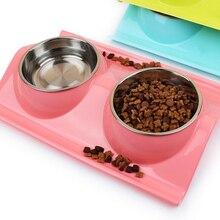 RFWCAK двойная миска для собак, питомцев, щенков, кошек, кормушек, диспенсер для воды, пластиковая нержавеющая сталь, комбинированные принадлежности для собак, аксессуары для домашних животных
