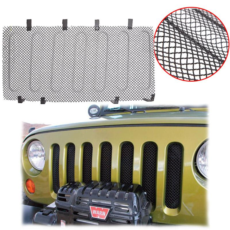 Partol Stainless Steel 3D Mesh Grille Insert Protect Radiator For Jeep Wrangler JK  2007 2008 2009 2010 2011 2012 2013 2014 2015 stainless radiator grille guard cover fit suzuki b king abs gsx1300bk 2008 2009 2010 2011 2012 moto accessories