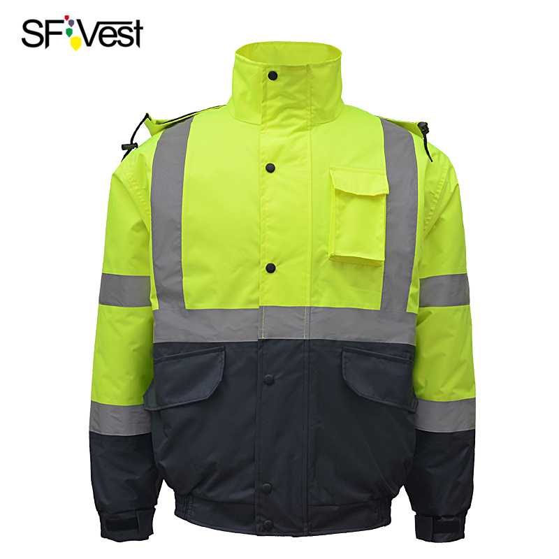 Two tone high visibility safety winter jacket with reflective stripes