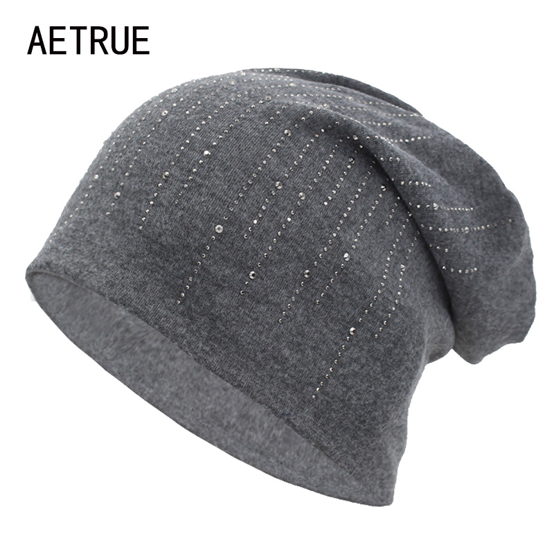 AETRUE Brand Knitted Hat Beanie Women Autumn Winter Hats For Women Female Bonnet Rhinestone Gril Ladies Skullies Beanies Cap Hat