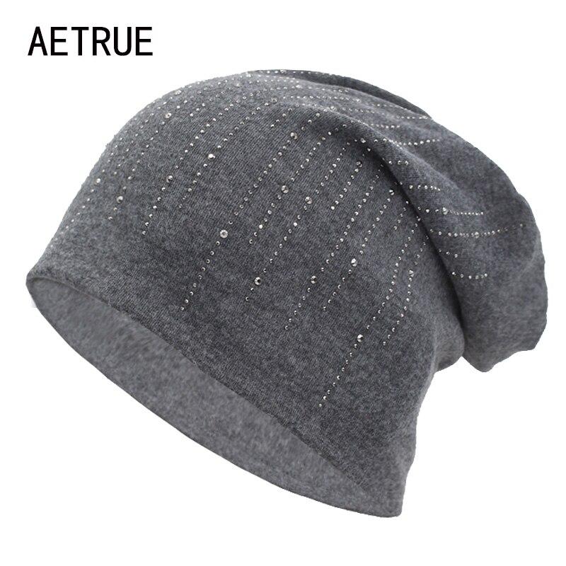 AETRUE Brand Knitted Hat   Beanie   Women Autumn Winter Hats For Women Female Bonnet Rhinestone Gril Ladies   Skullies     Beanies   Cap Hat