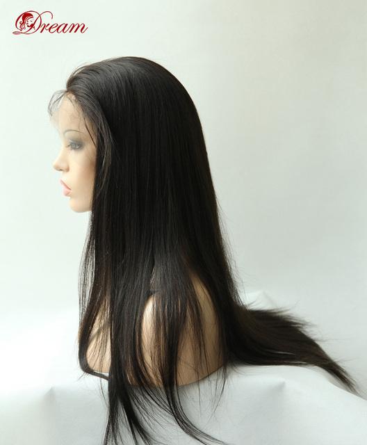 7A Yaki Recto Sin Cola pelucas delanteras del cordón peluca de pelo remy Brasileño, sin derramamiento de cabello humano pelucas, pelucas delanteras del cordón para las mujeres negras