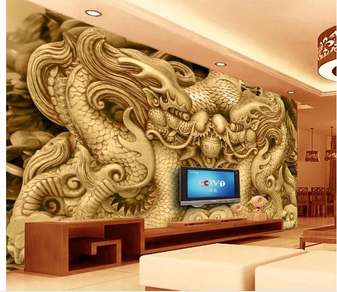 3d Wallpaper For Room Wall 3d Wallpaper Wood Carved Dragon