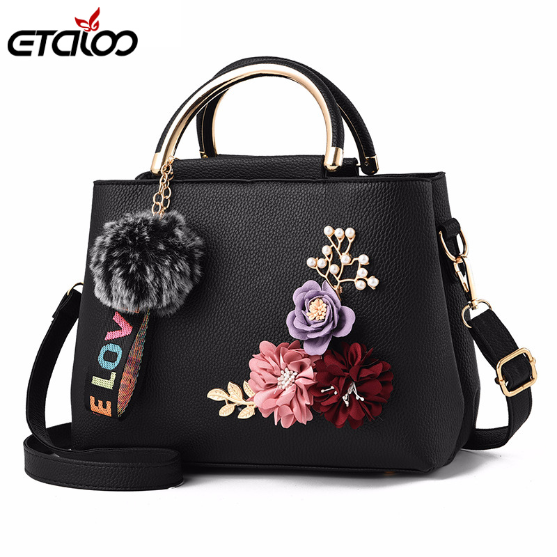 2018 Flowers Shell Women's Tote Leather Clutch Bag Small Ladies Handbags Brand Women Messenger Bags Comfort Casual Flower Bag