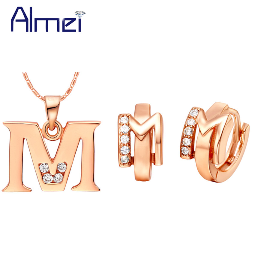 Almei Sale Letter M Wedding Rose Gold Color Jewelry Sets For Women Children with Zircon Necklace With a Chain Set Earrings T348
