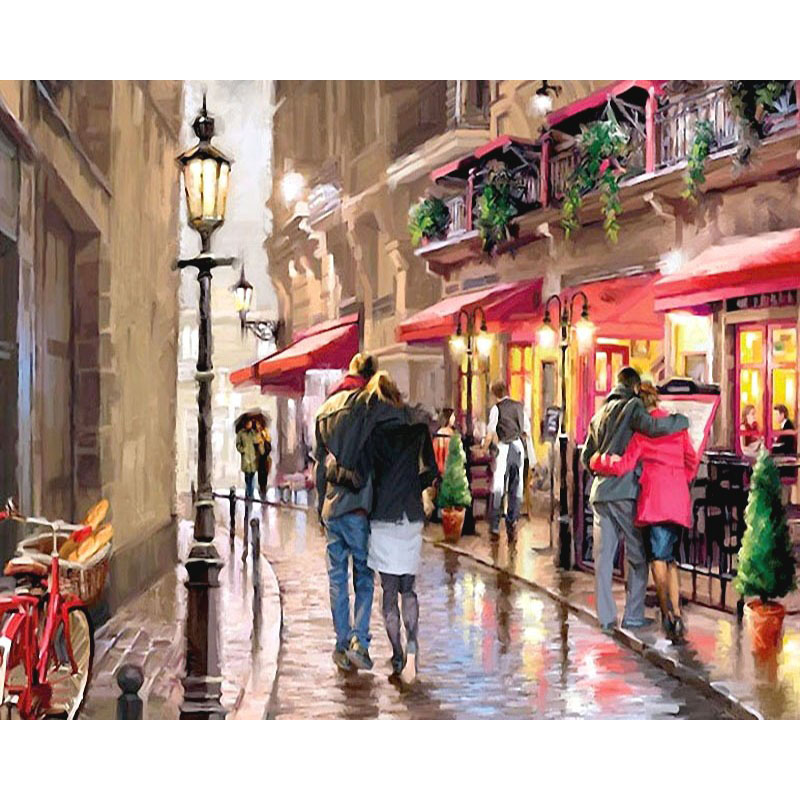 0329ZC052 Home wall furniture Decorations DIY number oil painting children Graffiti romantic street painting by numbers