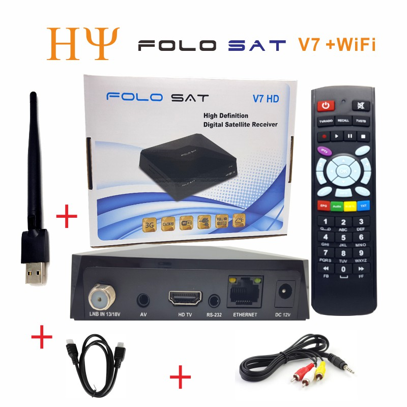 US $122 4 20% OFF| 3PCS/Lot FOLOSAT V7 HD DVB S2 satellite receiver Support  PowerVu Biss Key Stalker/Xtream/m3u Protocal CCCAM NEWCAMD MGCAMD-in