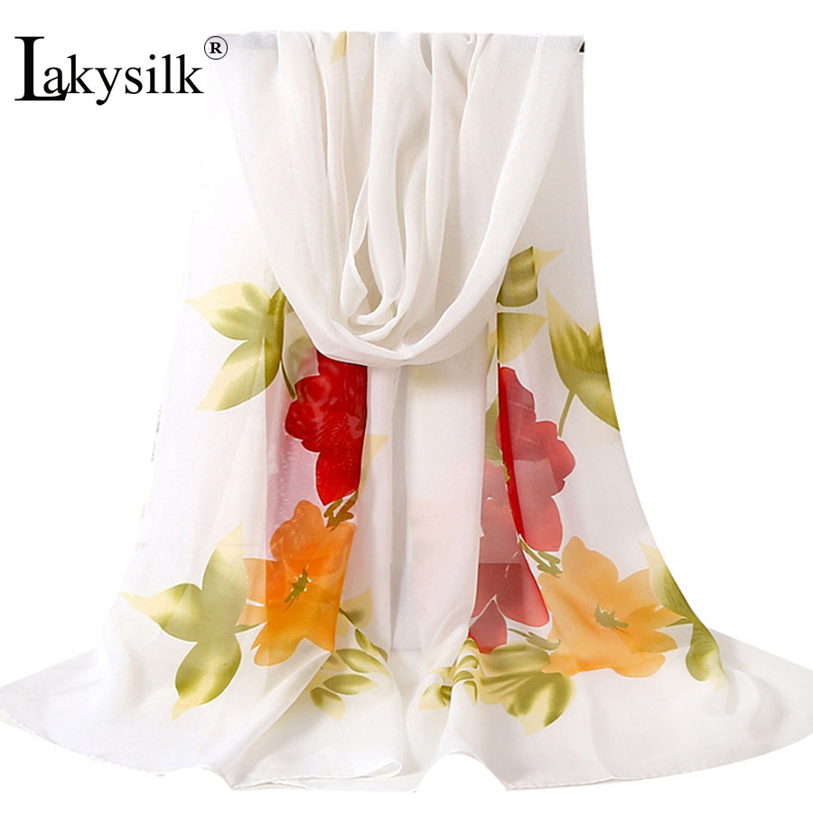 [Lakysilk] Women Chiffon Scarf Shawl Hijab Shawls for Grils Wraps Female Floral Print Head Neck Scarves Summer Black White