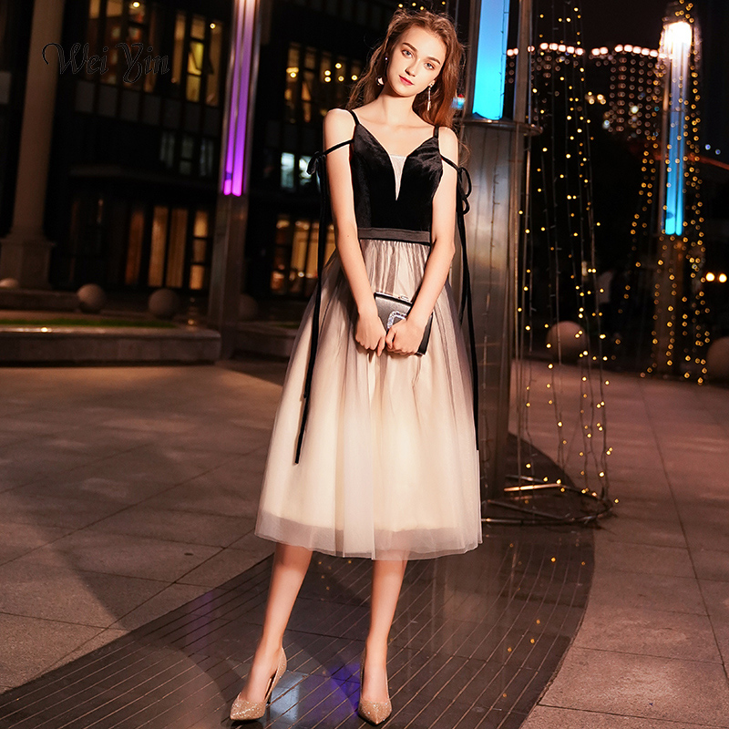 weiyin 2019 New Black Evening   Dress   Sexy Velour   Prom     Dresses   V-neck Sleeveless Tulle Formal   Dress   Party Gown WY1071