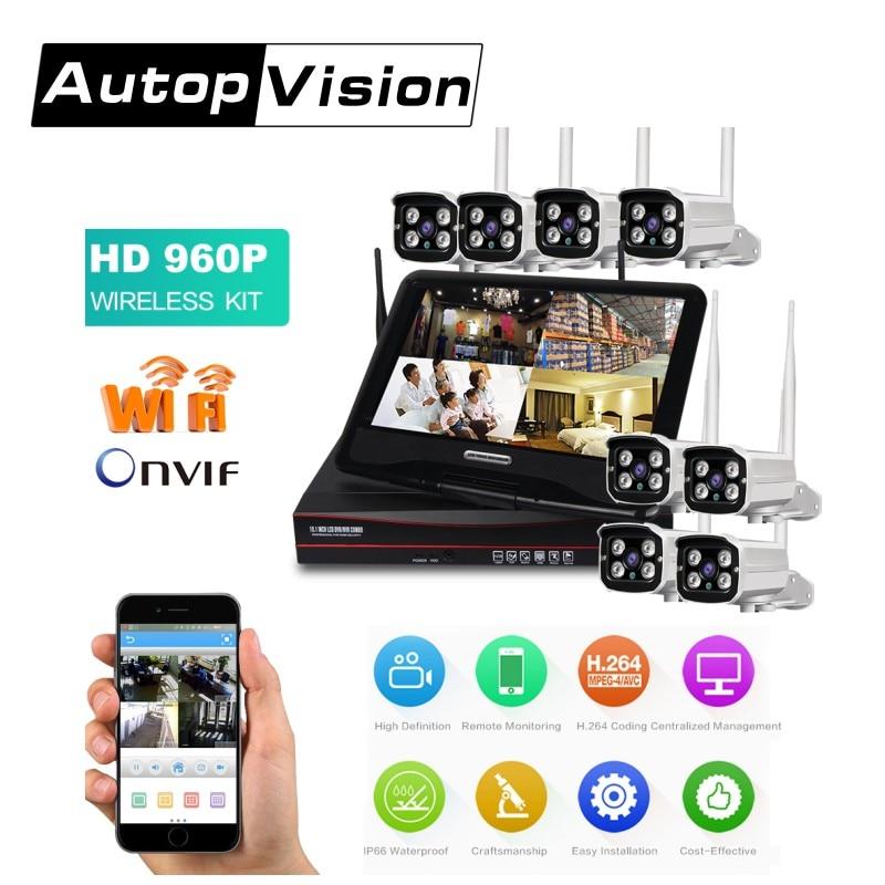 2017 hotsale 8 canaux 960 P Wifi NVR système à travers le mur sans fil système de caméra de vidéosurveillance avec écran LS-Wifi-DP 8CH NVR kits