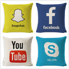 Fokusent Facebook WeChat Skype Viber Sarung Bantal Sofa Tango YouTube Snapchat Instagram Sarung Bantal(China)
