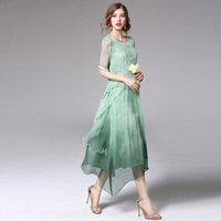 Ethnic Style Dress Women High Quality Vestido De Festa Vintage Robe Femme Midi Dresses Summer Silk Two Piece Set 2017