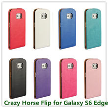 1PCS Drop Shipping Crazy Horse Pattern Skin Flip PU Leather Pouch Case for Samsung Galaxy S6 Edge G9250 with Magnetic Closure(China)