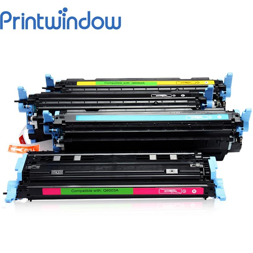 Printwindow Compatible Toner Cartridge Q6001A Q6002A Q6003A Q6000A for HP LaserJet 1600/2600n/2605/2605dn/2605dtn 4X/Set lcl 124a q6000a q6001a q6002a q6003a 4 pack kcmy toner cartridge compatible for hp laserjet 1600 2600 2605 1015 1017color