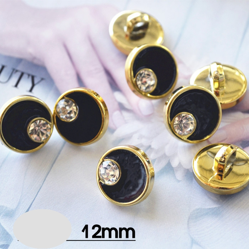 100 pcs Black Round Plastic Rhinestone Buttons For Clothing Handmade Sewing Gold Shank Buttons Craft Decor Sewing