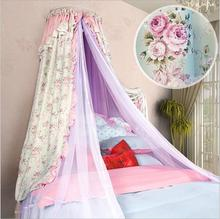 Luxury palace princess pastorable mosquito net floral printing bed mantle curtain insect screen lace hollow iron frame