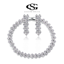 George Smith Simple Luxury Double Row Rhinestone AAA Zircon Crystal Bracelet Wedding party lady earrings engagement jewelry set