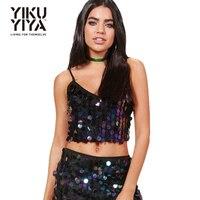 YIKUYIYA Black Purple Crop Tops Women Zipper Sexy Casual Tanks Sleeveless Backless Straps Shining Sequin Vests