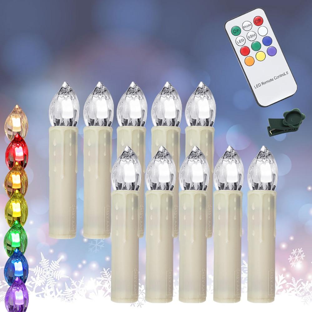 70 piezas Multicolor electrónico parpadeante LED vela de Navidad luz hogar fiesta decoración con Control remoto - 4
