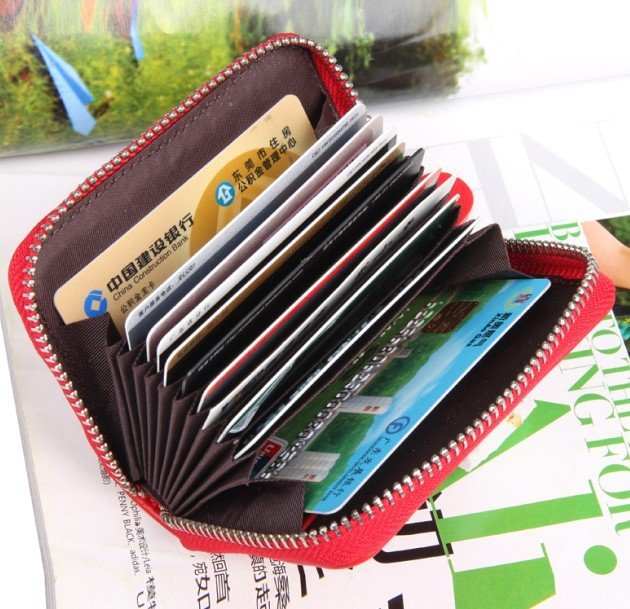 buy online 79d89 43f32 US $12.15  Fashion GENUINE LEAHTER Fashion zipper credit name card holder  wallet promotion gifts CCBB8-in Card & ID Holders from Luggage & Bags on ...