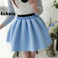 2016 summer elastic high waist pleated skirts winter fashion casual short skirts space cotton candy-colored tutu skirts women