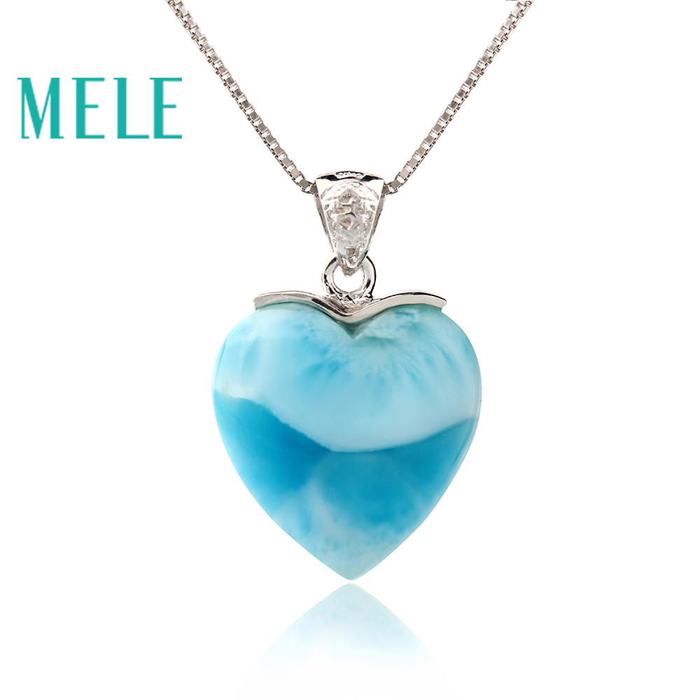 Natural larimar pendant 925 silver for women and girl,heart shape blue color fine jewelry best gift