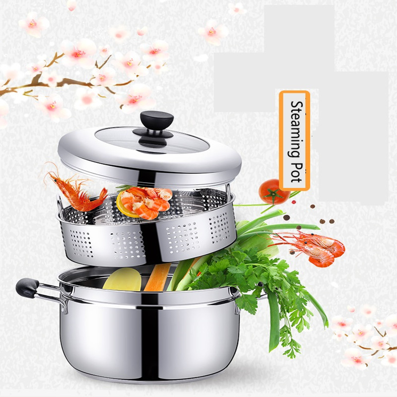 Household Stainless Steel Multifunctional Steaming Pot With Steamer Cooking Machine Pot For Electromagnetic Furnace Gas Stove multifunctional cooking pot soup pot steamer with stainless steel steamer diameter 20cm for electromagnetic furnace gas stove