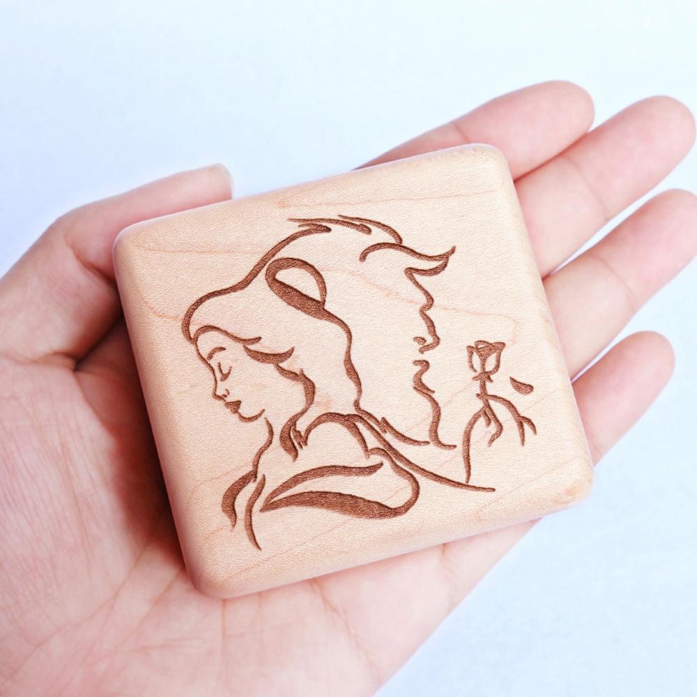 Sinzyo Handmade Wooden Beauty and the beast Music Box Wood Carved Mechanism Musical Box Gift For