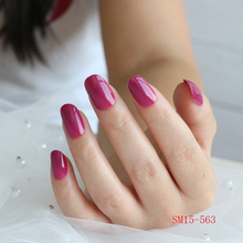 2019 new 24 pcs/article long round head purple fake nails warm color fleshy candy pure acrylic 15-563
