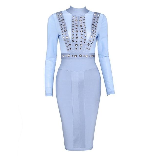 Lichtblauw jurkje lange mouw