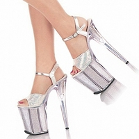 Silver Sequins Crystal Formal Dress Sexy Shoes 20cm Ultra High Heel Shoes Fashion 8 Inch High